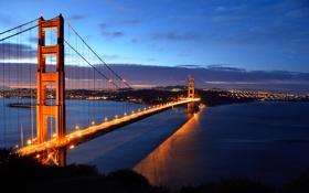 Картинка США, USA, Калифорния, San Francisco, вечер, пролив, California