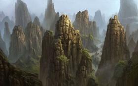 Картинка деревья, горы, туман, река, скалы, арт