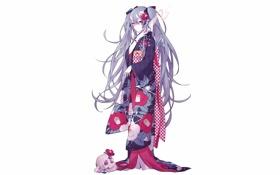 Картинка девушка, череп, аниме, арт, рога, кимоно, vocaloid
