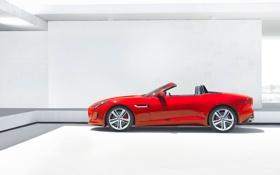Обои Jaguar, Красный, Кабриолет, Спорткар, F-Type, Вид сбоку