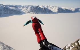 Картинка зима, снег, горы, скалы, парашют, контейнер, экстремальный спорт