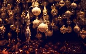 Обои зима, шарики, игрушки, Новый Год, Рождество, Christmas, золотые