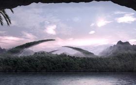 Обои деревья, горы, река, джунгли, пещера