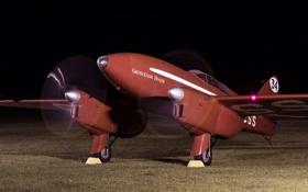 Обои авиация, ночь, самолет, аэродром