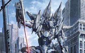 Обои небо, город, самолет, фантастика, робот, меч, арт