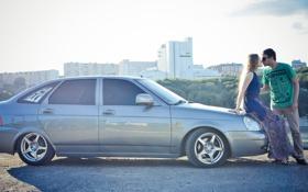 Обои машина, авто, девушка, поцелуй, мужчина, auto, бок