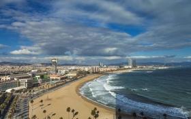 Картинка море, город, побережье, Испания, Barcelona