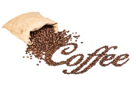 Обои надпись, мешок, кофе, белый фон, зерна
