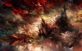 Картинка фантастика, корабль, арт, Dreadnought, дредноут, корабль-призрак