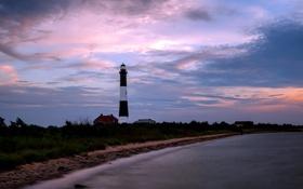 Обои море, пейзаж, ночь, маяк