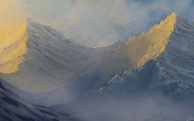 Обои снег, закат, горы, дым, вершины, маяк, арт