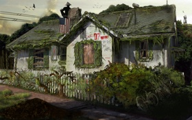 Картинка дом, флаг, америка, пустош