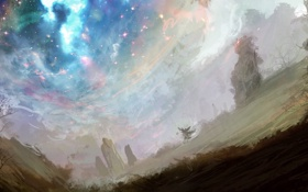Обои деревья, звёзды, арт, dreamworld