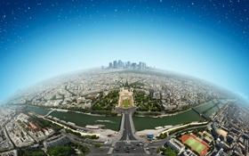 Картинка небо, космос, мост, река, Франция, Париж, дома