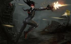 Картинка девушка, город, оружие, арт, очки, стрельба, руины