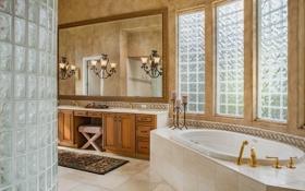 Обои свечи, зеркало, душ, ванна, ванная, светильники