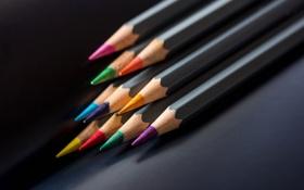 Картинка макро, фон, цвет, карандаши