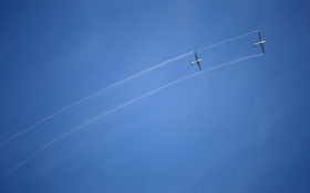 Обои sky, smoke, lines, airplanes
