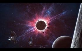 Обои взрыв, обломки, катастрофа, звездолеты, планеты
