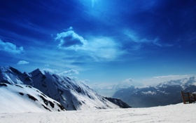 Обои зима, небо, солнце, снег, склон, яркое, высокогорье
