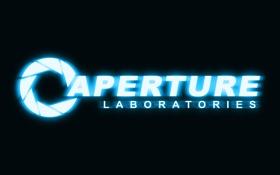 Обои логотип, неон, logo, portal 2, aperture, портал 2, laboratories