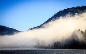 Картинка горы, природа, озеро, дымка
