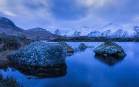 Картинка камни, деревья, горы, снег, небо, озеро, тучи