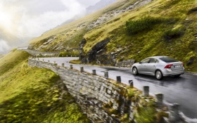 Картинка Дорога, Обрыв, Volvo, Машина, Серый, S60, В Движении