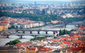 Обои пейзаж, мост, река, дома, прага, чехия, влтава