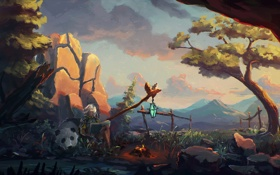 Обои закат, дерево, мальчик, медведь, костер, панда, книга