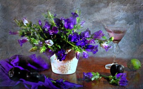 Картинка цветы, бокал, текстура