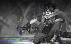 Обои меч, шарф, арт, очки, парень, сидя, Artea