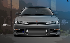 Обои вектор, Silvia, Nissan, ниссан, front, сильвия, S14