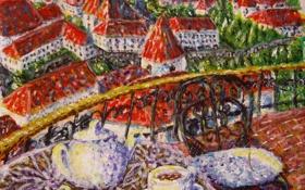 Обои картина, холст, акрил, художник М. Тараканова, «Вид с чаепития»