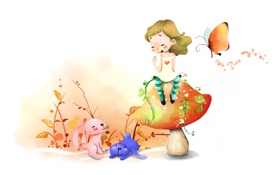 Обои гриб, позитив, бабочка, смех, рисунок, листья, ветви