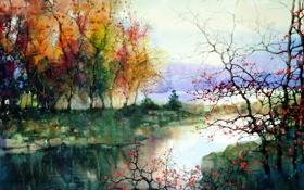 Обои деревья, пейзаж, река, картина, ZL Feng