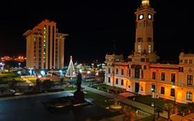Обои здание, Мексика, ночной город, Веракрус
