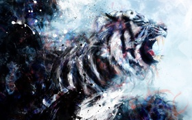 Обои краски, рисунок, Тигр, пасть, оскал