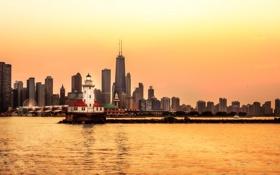 Обои USA, city, Chicago, illinois, мегаполис, небоскребы, Чикаго