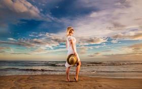 Обои пляж, девушка, обработка