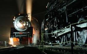 Обои свет, ночь, дым, рельсы, паровоз, Поезд, пар