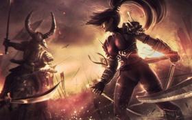 Обои девушка, меч, бой, кинжал, битва, схватка, samurai