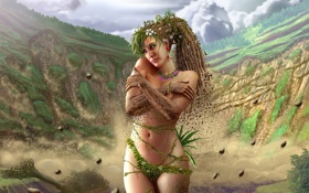 Картинка девушка, земля, растения, арт, бедра