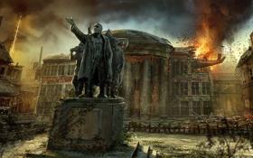 Обои огонь, Singularity, здания, статуя, город, руины, арт