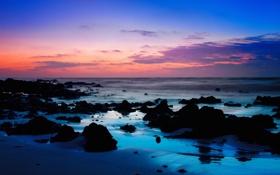 Обои море, пляж, камни, рассвет