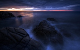 Картинка море, пейзаж, ночь, скалы