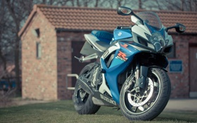 Обои деревья, синий, здание, мотоцикл, suzuki, blue, сузуки