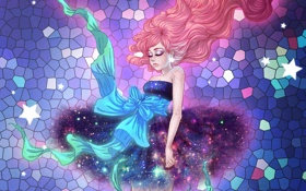 Обои девушка, звезды, волосы, бант
