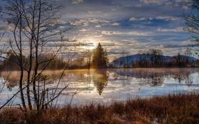 Картинка пейзаж, река, весна, утро