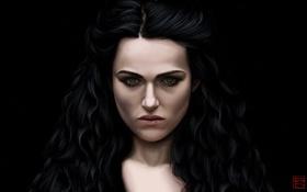 Обои девушка, лицо, темный фон, арт, Morgana, Merlin, Katie Mcgrath